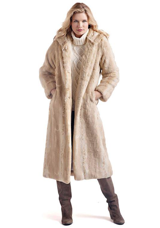Women's Blonde Mink Full-Length Hooded Faux Fur Co