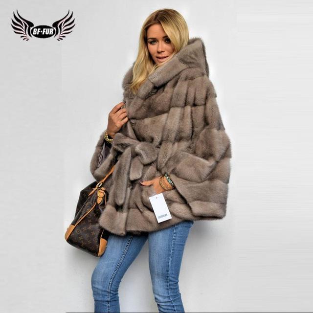 BFFUR Mink Coats For Women Clothes Genuine Slim Fur Plus Size Full .