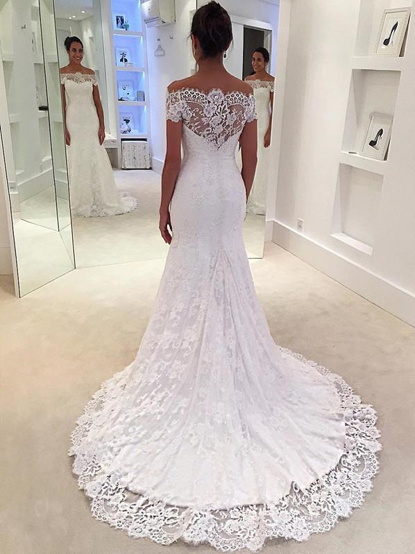 Modern Mermaid Wedding Dresses Lace Short Sleeves Gowns WD063 .