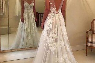 Buy discount Modern Tulle V-neck Neckline A-line Wedding Dresses .