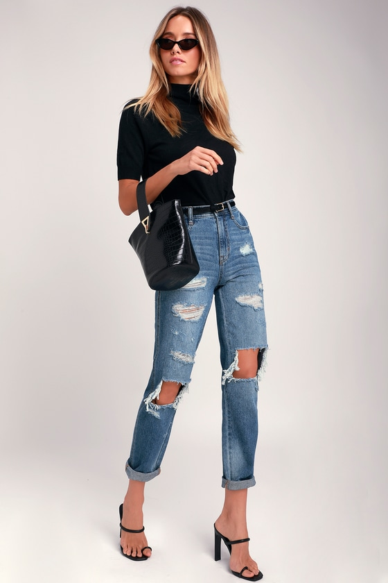 Jordache Cher Mom Jeans - Medium Wash Jeans - Destroyed Jea
