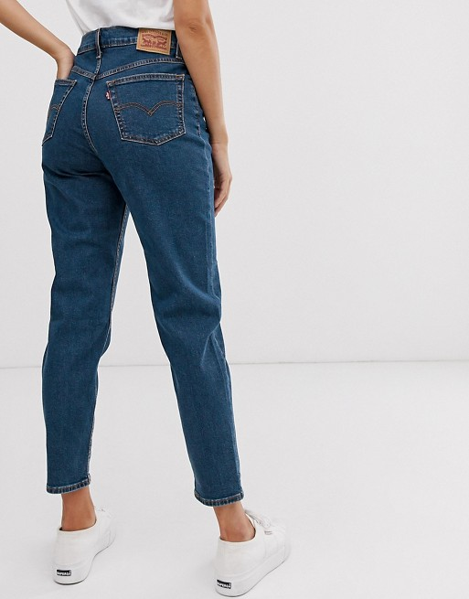 Levi's exposed button mom jeans in dark blue | AS