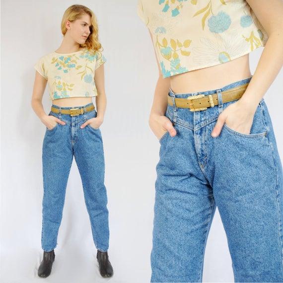 90s medium stone wash mom jeans size 12 29 inch waist high | Et