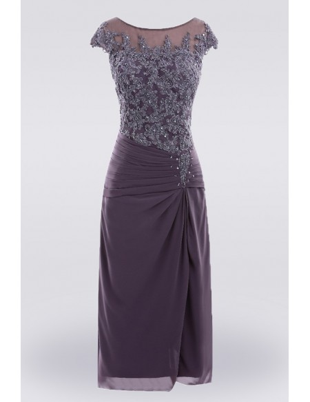 Purple Knee Length Lace Mother Of The Bride Dress With Sleeves .