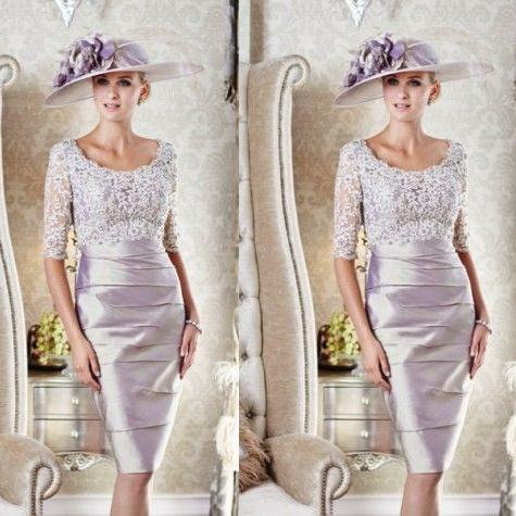 Half Long Sleeve Mother Bride Dresses Knee Length Lace Mother Of .