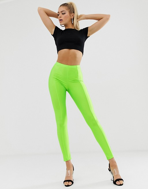 PrettyLittleThing exclusive disco leggings in neon lime | AS