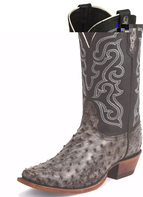 MEN'S NOCONA NICOTINE TUMBLED FULL QUILL OSTRICH COWBOY BOOTS .