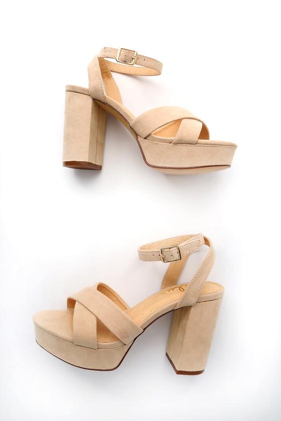 Cute Ankle Strap Heels - Platform Heels - Nude Hee