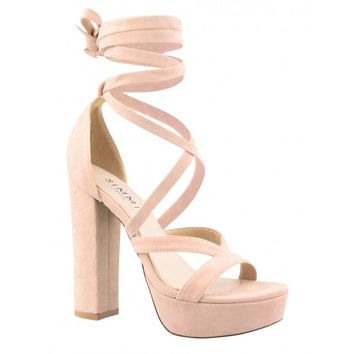 Amelia Nude Suede Lace Up Platform Heels from simmi.com   Shoes