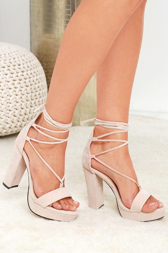 Sexy Nude Heels - Platform Heels - Lace-Up Heels - Vegan Suede .