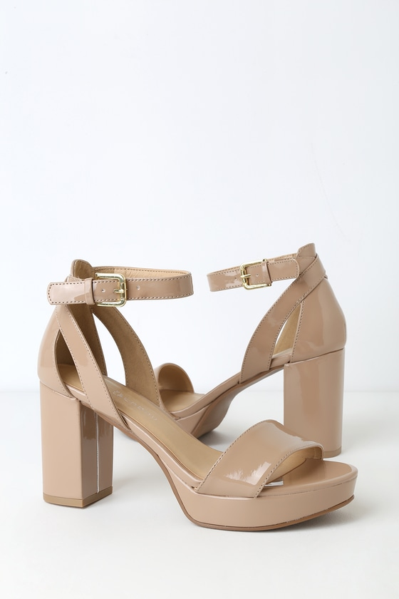 CL by Laundry Go On - Nude Platform Heels - Nude Patent Hee
