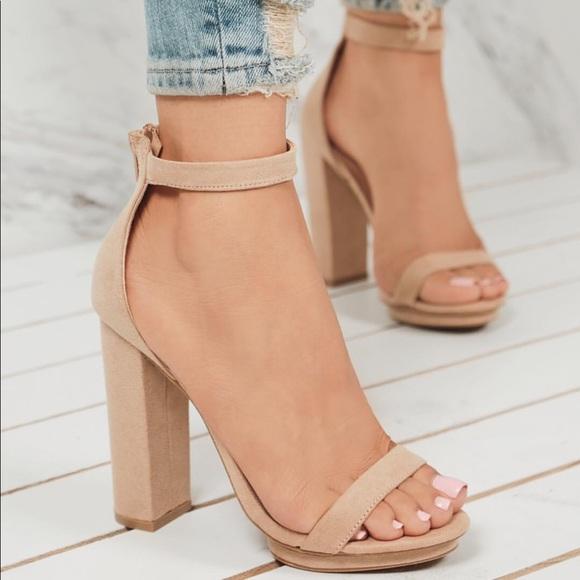 Shoes | Nude Ankle Strap Heel Mini Platform Heel | Poshma