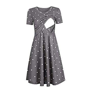 Amazon.com : Women Dot Print Maternity Dresses Tank Short Sleeve .