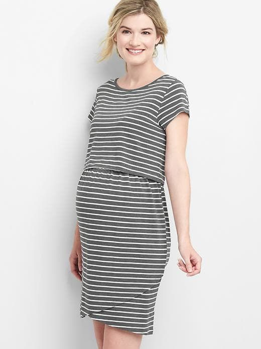 Maternity Stripe Layered Nursing T-Shirt Dress | Dresses, Shirt .