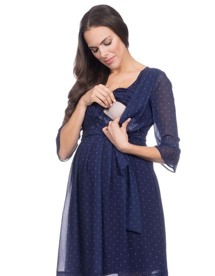 China High Quality Navy Blue Polk DOT Pleated Maternity & Nursing .