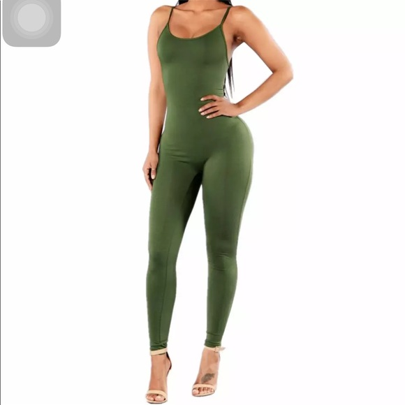 Pants | Olive Green One Piece Jumpsuit | Poshma