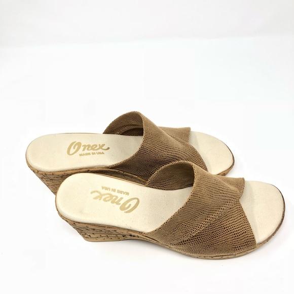Onex Shoes | Gold Beige Wedge Sandals | Poshma