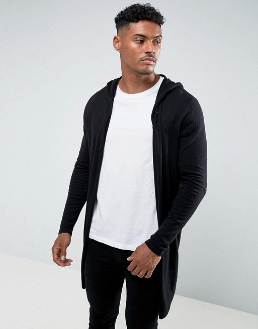 ASOS DESIGN hooded open front cardigan with curved hem in black | AS