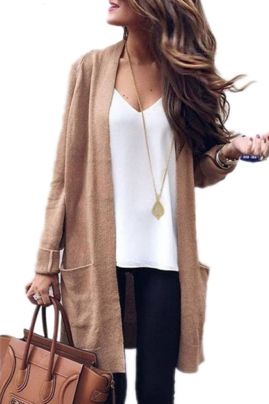 New Collection Basic Plain Long Sleeve Open Front Cardigan with .