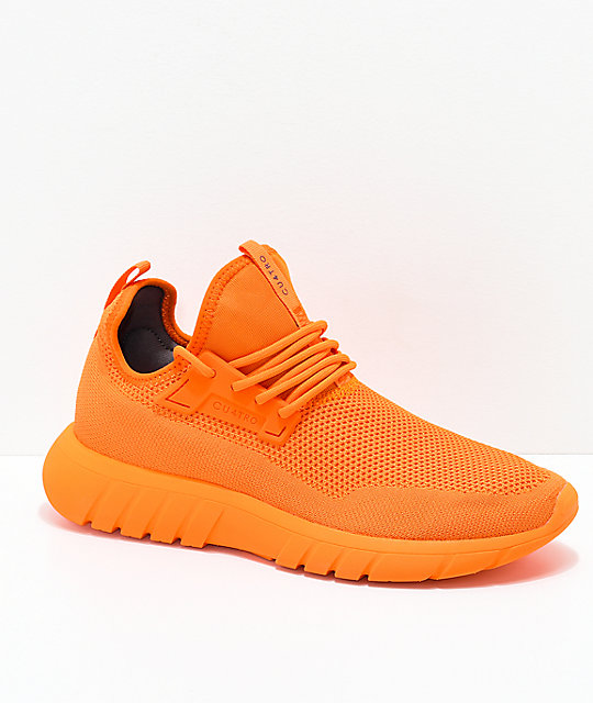 CU4TRO Bolt Caution Orange Knit Shoes | Zumi