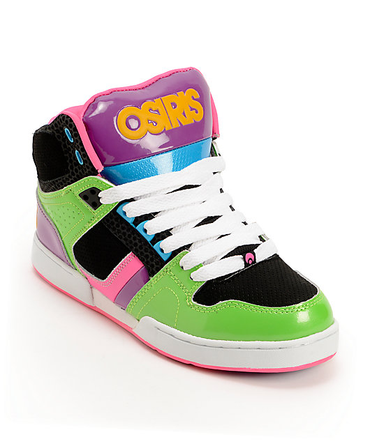 Osiris Kids NYC 83 Slim Green, Black, & Purple Skate Shoes | Zumi