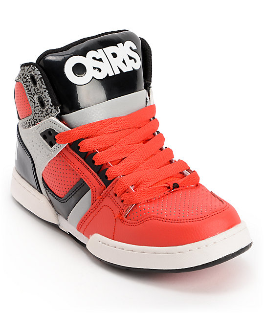 Osiris Kids NYC 83 Red, Grey & Black Skate Shoes | Zumi