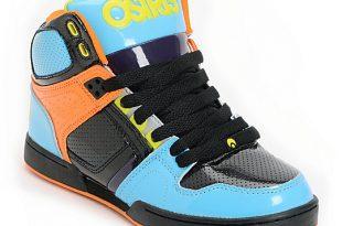 Osiris Kids NYC 83 Cyan, Black & Orange Skate Shoes | Zumi