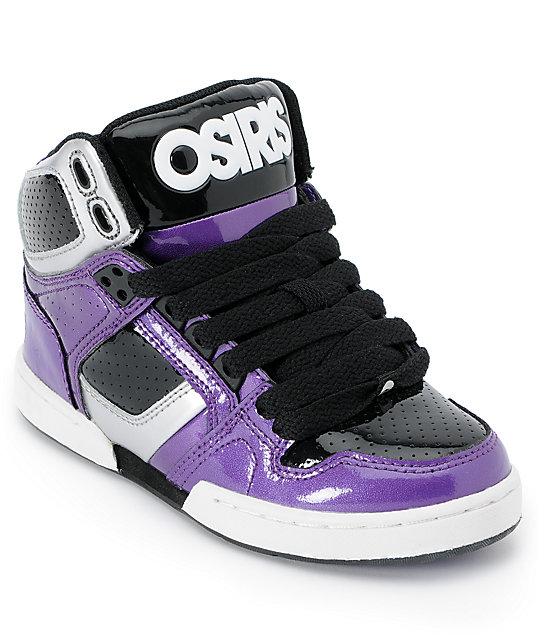 Osiris Kids NYC 83 Purple, Silver & Black Skate Shoes | Zumi