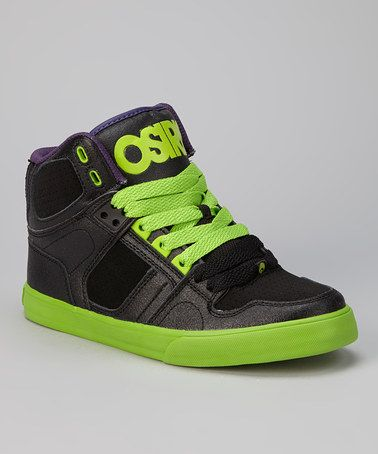 Take a look at this Black & Green NYC 83 Vulc Hi-Top Sneaker .