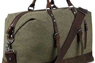Amazon.com | Canvas Overnight Bag Travel Duffel Genuine Leather .