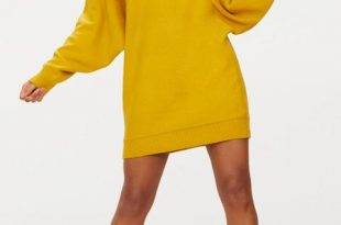 Mustard Oversized Jumper Dress from PrettyLittleThing on 21 Butto