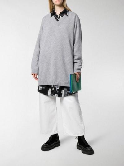 Marni v-neck oversized jumper grey | MOD