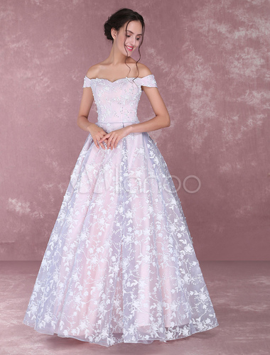 Lace Pageant Dresses Soft Pink Off The Shoulder Prom Dress Floor .