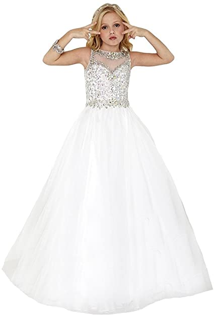 Amazon.com: SuMeiyue Girls' White Scoop Beaded Crystal Full Party .