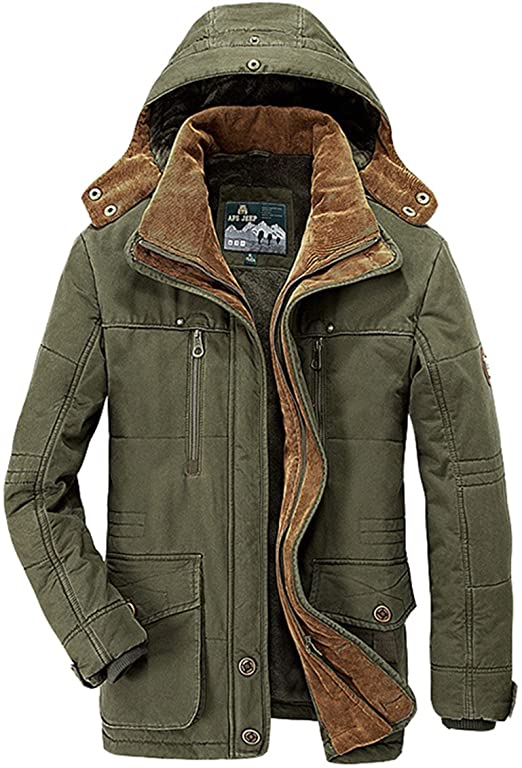 Wintie Men's Casual Fleece Lined Military Parka Jackets Hooded .