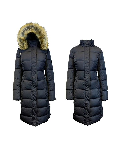 Spire By Galaxy Long Heavyweight Bubble Parka Jacket with Faux .