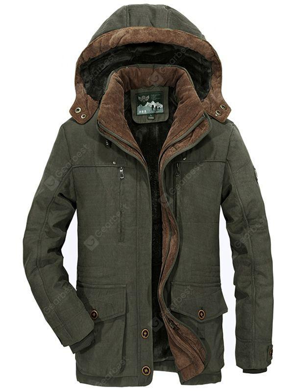 Warm Cotton Coat Parka Jacket Army Green 4XL Men's Jackets & Coats .