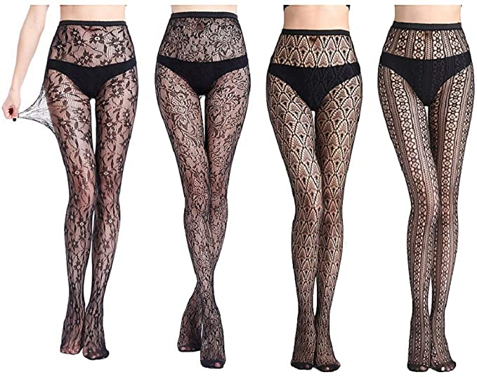 Womens Sexy Lace Patterned Tights Fishnet Floral Stockings Pattern .