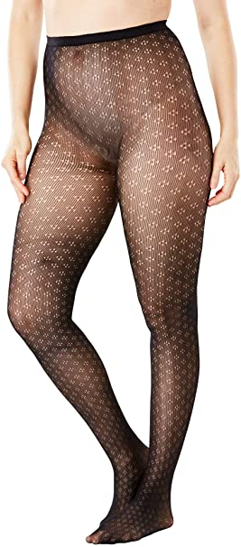 Women's Plus Size 2-Pack Patterned Tights - A/B, Diamond Dot at .