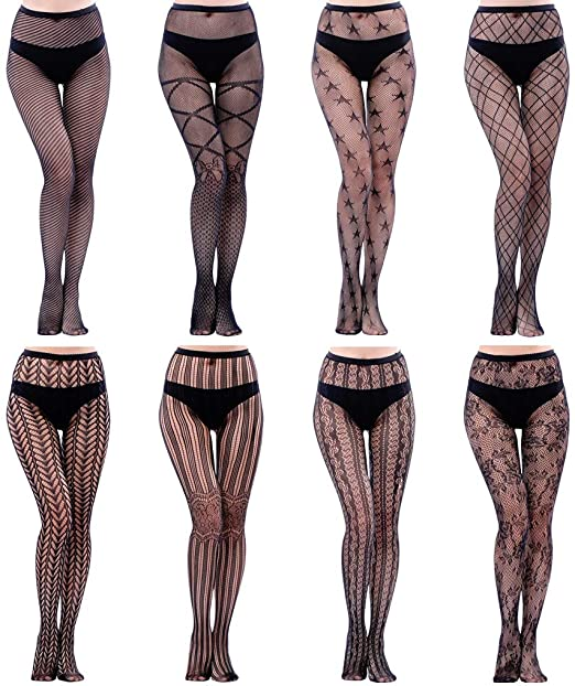 HOVEOX 8 Pairs Lace Tights Fishnet Floral Stockings Lace Patterned .