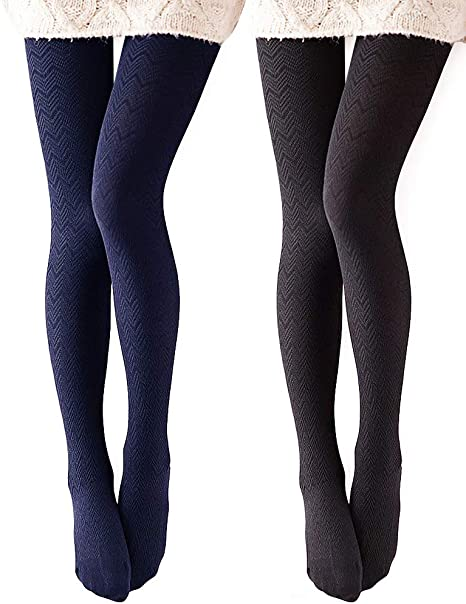 VERO MONTE Modal & Cotton Opaque Patterned Tights for Women .