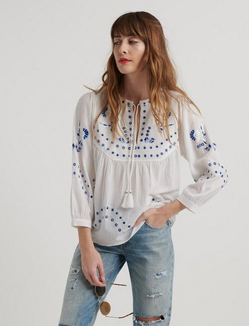 Evelyn Embroidered Peasant Top | Lucky Bra