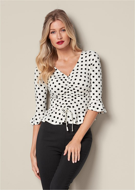 Ruched Peplum Top in White & Black   VEN