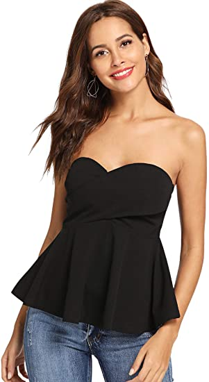 DIDK Women's Stretchy Strapless Wrap Front Bandeau Peplum Top .