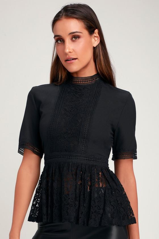 Pretty Black Top - Black Lace Top - Lace Peplum Top - Lace Blou