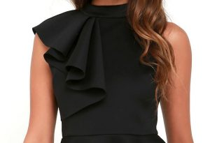 Pretty Black Top - Peplum Top - Ruffle Top - $39.