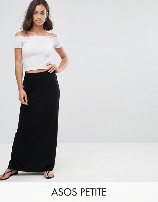 ASOS DESIGN Petite jersey maxi skirt with pockets | AS