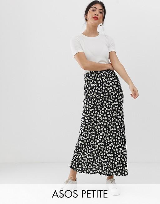 ASOS DESIGN Petite daisy print bias cut maxi skirt | AS