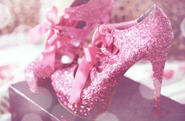 shoes, pink, pink high heels, glitter shoes, glitter, high heels .