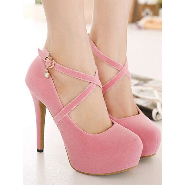 Pink Cross Strap Crystal Drop Platform High Heels (4,170 INR .